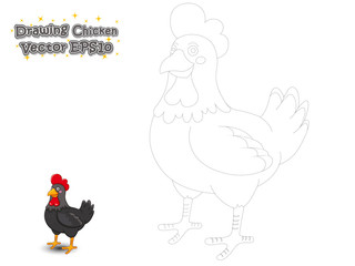 Drawing and Paint Cute Chicken Cartoon . Educational Game for Kids. Vector Illustration.