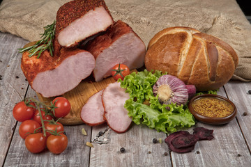 Ham, Bread And Vegetables