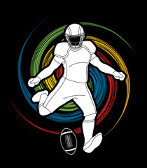 American Football player action, sport concept graphic vector.
