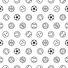 sports ball outline seamless pattern