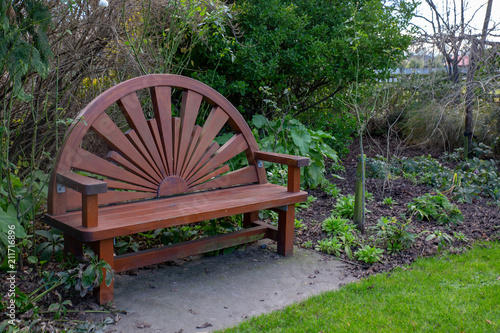 Fabulous Wooden Carved Bench Seat In A Park Garden In The Wintertime Creativecarmelina Interior Chair Design Creativecarmelinacom