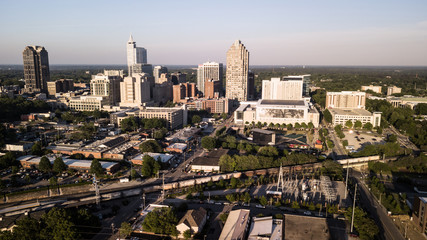 Late Afternoon Light Hits the Buildings and Landscape of Raleigh North Carolina