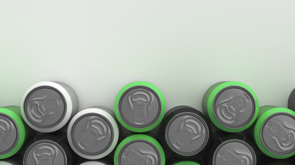 Big black, white and green soda cans on white background