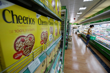 Boxes of Cheerios cereal made by a U.S. company are displayed for sale at an international supermarket Jenny Lou's in Beijing