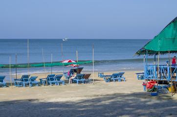 Beautiful landscape the Arabian blue Sea in Goa India