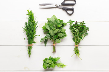 Fresh herbs, estragon, mint, coriander, thymus lie a bunch on a wooden white table. Top view