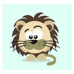 funny little lion cub mascot cartoon character