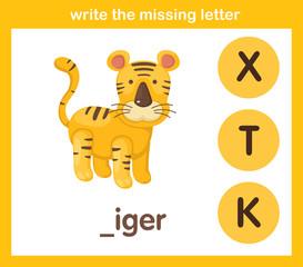 write the missing letter,illustration, vector