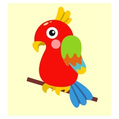 cute funny colorful parrot bird mascot cartoon character