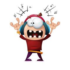 Funny, cute, crazy cartoon rock man. Rock music illustration. Vector eps 10
