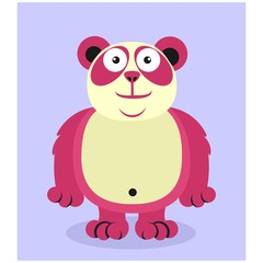 cute fat chubby pink panda bear mascot cartoon character