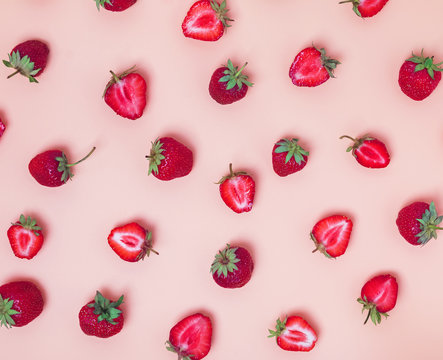 Strawberries pattern on the bright background.