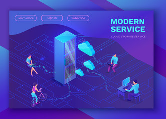 Isometric people with gadgets, laptop, smartphone, connecting cloud service, 3d vector illustration, landing page layout, vector web template, smart modern technolodgy concept, ultra violet colors