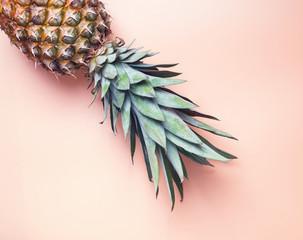 Pineapple on the pastel orange background