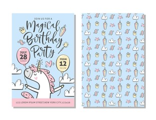 Birthday party invitation card template with cute unicorn and hand written text.