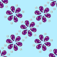 Flowers from precious stones. Seamless Pattern. Jewelry. Blue light coloured background