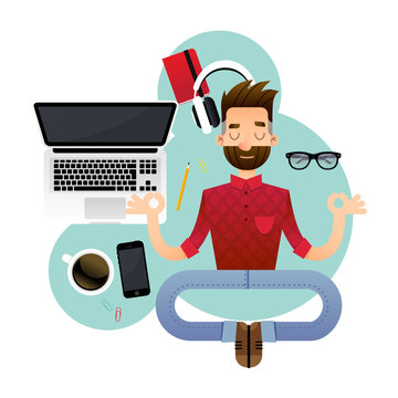 Vector illustration of a super professional programmer or project manager. Funny cartoon character of a person in a yoga pose.