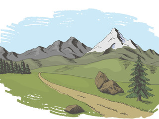 Mountain road graphic color landscape sketch illustration vector