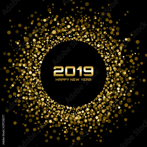 happy new year 2019 card background gold bright disco lights halftone circle frame