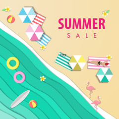 summer sale beautiful beach background, top view with paper art style vector
