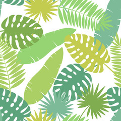 Palm leaf graphic green color seamless pattern background sketch illustration vector
