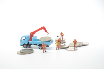 a Road works with mini workers in a country