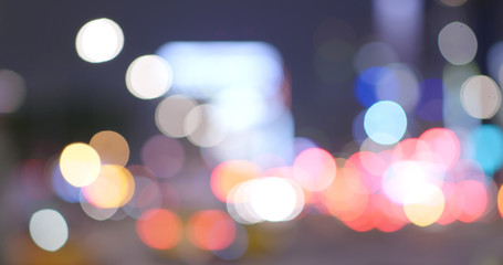 Blur view of cityscape at night