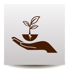 plant vector icon with human hand on a realistic paper background with shadow. Illustration on a flat design style. EPS 10. Suitable for ecology, agriculture theme.