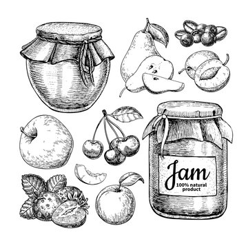 Fruit jam glass jar vector drawing. Jelly and marmalade with str