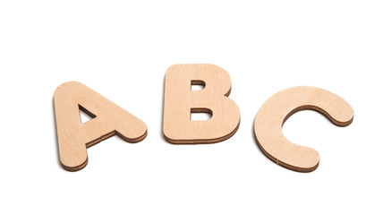 english wooden letters isolated