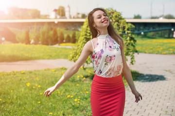 lifestyle concept - beautiful happy woman enjoying summer outdoors