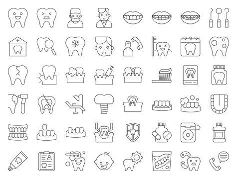 dentist and dental clinic related icon, such as toothbrush, tooth decay, make an appointment, teeth whitening, dental instruments, dentures, dental floss, thin line icon