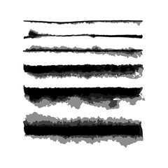 Vector Watercolor Wet Edge Brushes Set