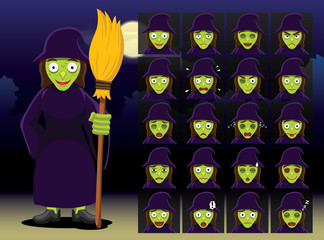 Witch Cartoon Emotion faces Vector Illustration