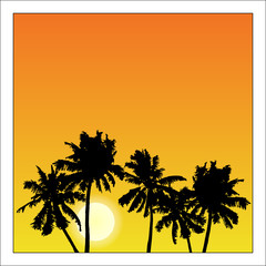 Vector summer poster framed with red and orange palm trees on white background.