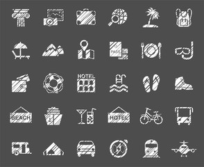 Travel, vacation, tourism, vacation, icons, pencil shading, vector, white. Different types of holidays and ways of travelling. White icons on a gray field. Simulation of shading. Vector clip art.