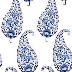 Floral indian paisley pattern vector seamless. Vintage flower ethnic ornament for indonesia batik sarong fabric. Oriental folk design for classic bedroom textile, bohemian curtain, yoga wallpaper.
