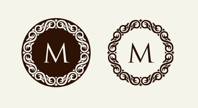 Monogram in baroque style floral ornament. Can be used for logos, wedding designs.