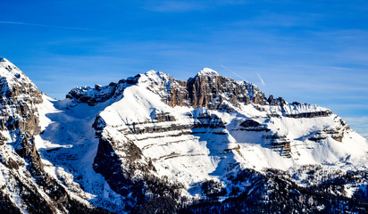 Dolomites mountains cowered with snow.