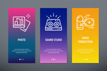 Photo, Sound Studio, Video Production Vertical Cards with strong metaphors.