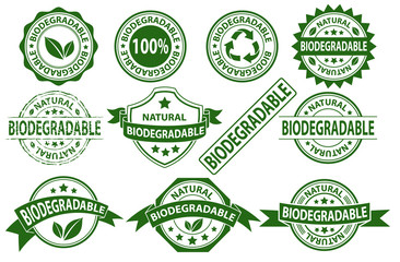 Biodegradable rubber stamp label sign symbol