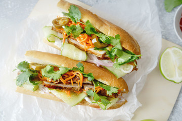 Photo sur Aluminium Snack Close up of classical banh-mi sandwich with sliced grilled pork tenderloin, shredded carrots and peeled cucumbers, jalapeno peppers and cilantro on white textured background