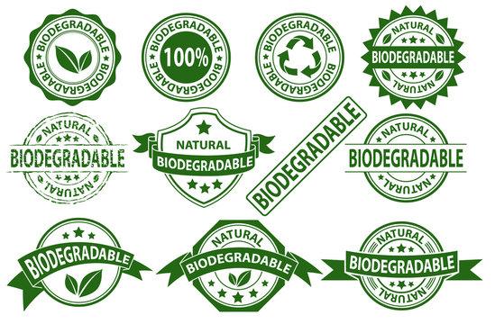 Biodegradable rubber stamp label sign symbol