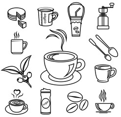 coffee icon set with accessories and ingredient
