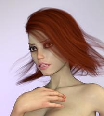 Attraktive Frau mit wehenden braunen Haaren