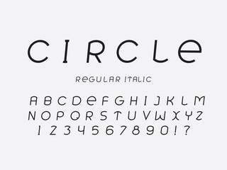 Circle regular italic font. Vector alphabet