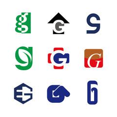 Alphabet letters set G Logo element. G letter collection.