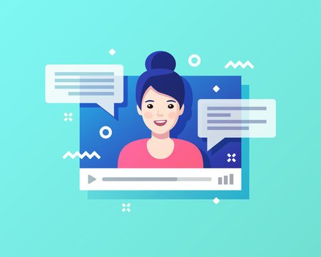 Concept of on-line video chat app, internet talk, call technology. Video player window with speaking woman and messages. Vector illustration.