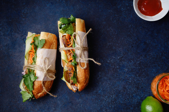 Classical banh-mi sandwich with sliced grilled pork tenderloin, shredded carrots and peeled cucumbers, jalapeno peppers and cilantro on dark blue background with copy space