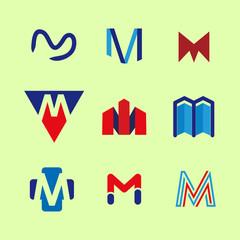 Alphabet letters set M Logo element. M letter collection.